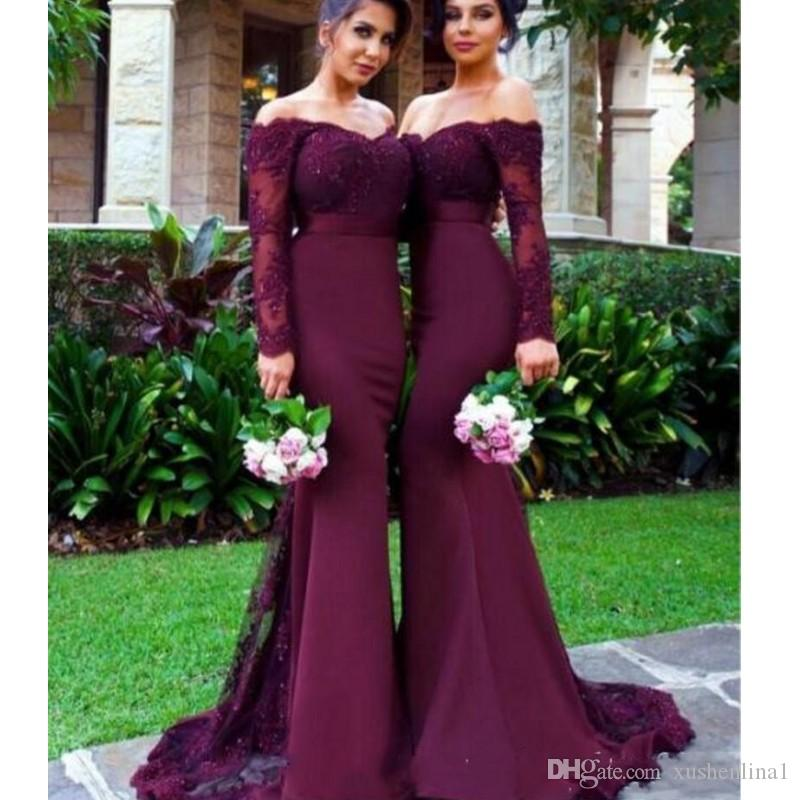 Burgundy Long Sleeves Mermaid Bridesmaid Dresses Beads Lace Appliques Off the Shoulder Maid of Honor Gowns 2018 Glamorous Wedding Guest Dres