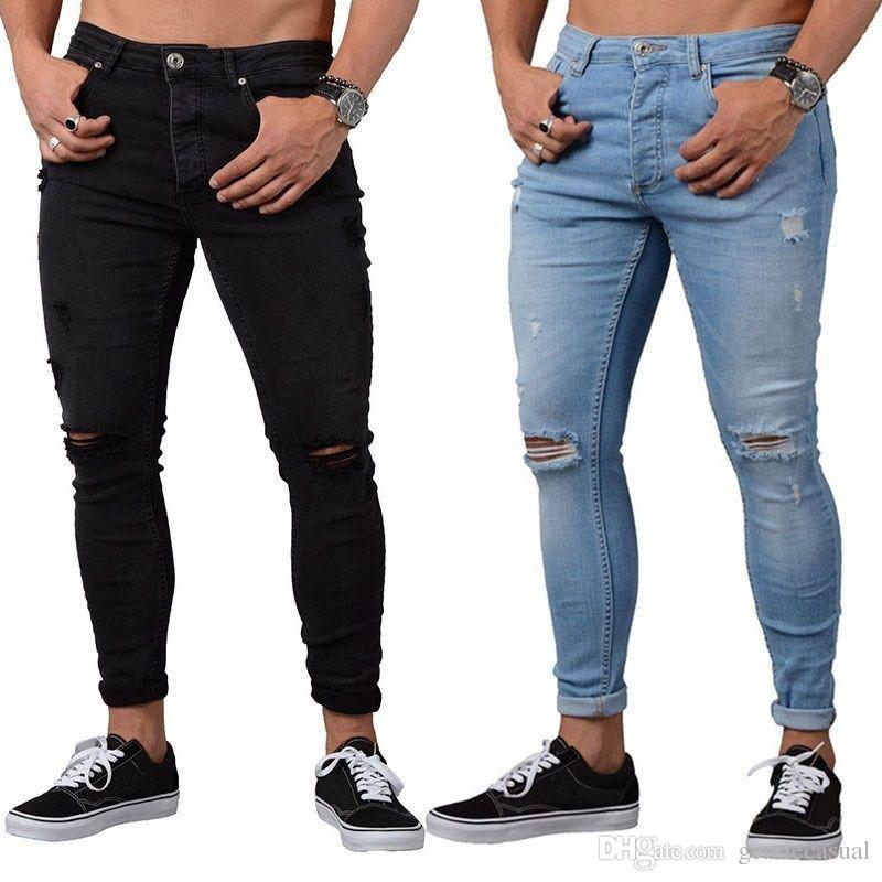 Compre Hombres Lapiz Pantalones Rotos Drapeado Agujeros Rodilla Largas Y Delgadas Pantalones De Mezclilla Azul Negro Elastico Jean Moda A 21 27 Del Gentlecasual Es Dhgate Com