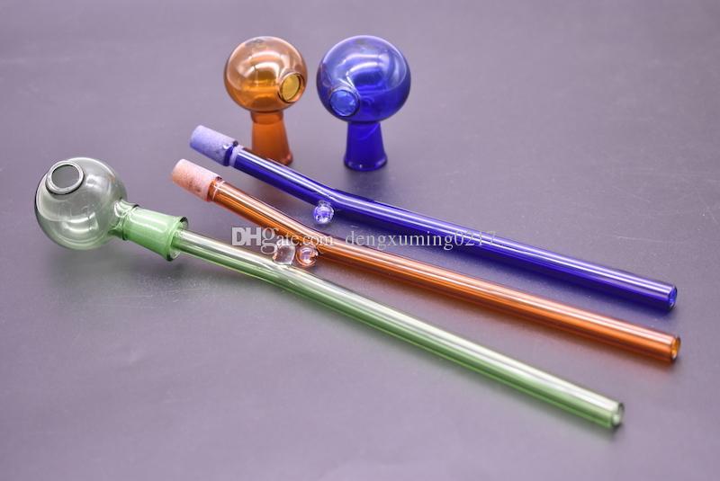 новый desgin многоцветные стеклянные трубы изогнутые стеклянные масляные горелки трубы 14 см длина разделения чаша балансировки водопровод рука курительные трубки