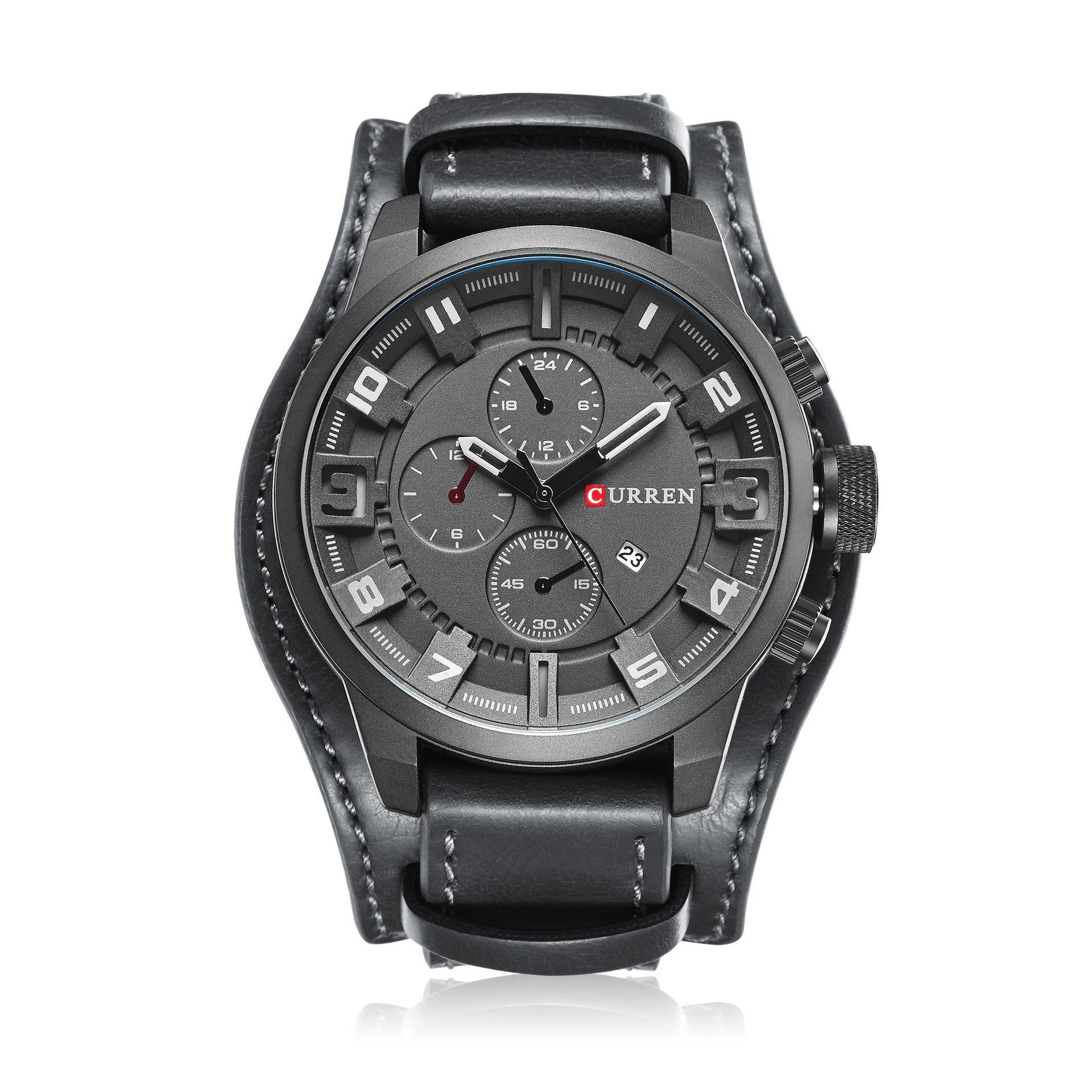 CURREN Herrenuhren Top-marke Luxus Uhr Männlichen Lederband Große Zifferblatt Military Armbanduhr Männer Quarzuhr Relogio Masculino