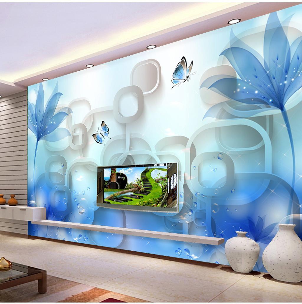 Custom Retail Blue Dream Flor romántica Fondo de TV Flor de pared Delicada y colorida mariposa Flying Mural