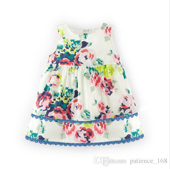 뜨거운 판매 한국 스타일 2018 새로운 도착 소녀 여름 귀여운 큰 꽃 인쇄 고품질의 면화 조끼 드레스 무료 배송
