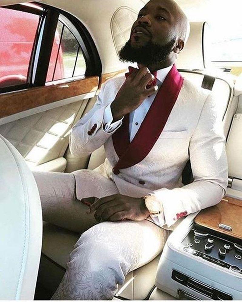 Nuovo sposo alla moda smokings groomsmen un bottone avorio paisley scialle risvolto miglior uomo vestito da sposa Blazer da sposa vestiti (giacca + pantaloni + cravatta) 182
