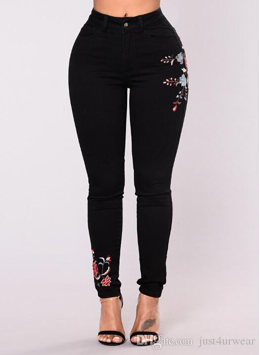 Kadınlar Çiçek Baskı Siyah Kot Seksi İnce Moda Denim Uzun Pantolon Kot Kadın Giyim Streewear Skinny Jeans Ücretsiz Kargo