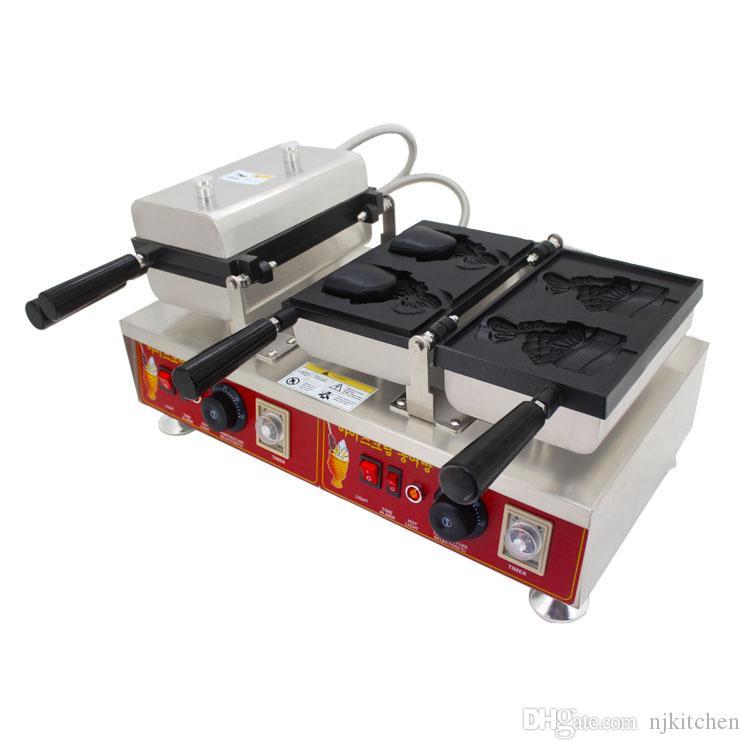 Ticari paslanmaz çelik 4 adet dondurma taiyaki maker makinesi balık şekilli koni waffle şekillendirme pişirme makinesi ekipmanları