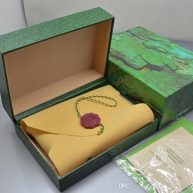 Роскошные Rlx Branding Watch Box Высший сорт Деревянный Зеленый Вуд Часы Коробка с Гарантийным Руководством На Рождество День Рождения подарочная упаковка Высокое качество
