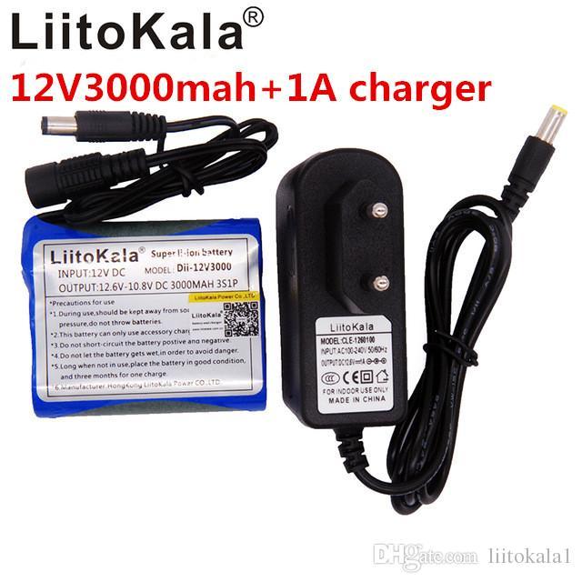 Liitokala new camera 12V 3000mAh Li-Ion 12V 3Ah Camera battery + charger 12.6V 1A EU / US plug UU Monitoring LED lights Xenon lamp