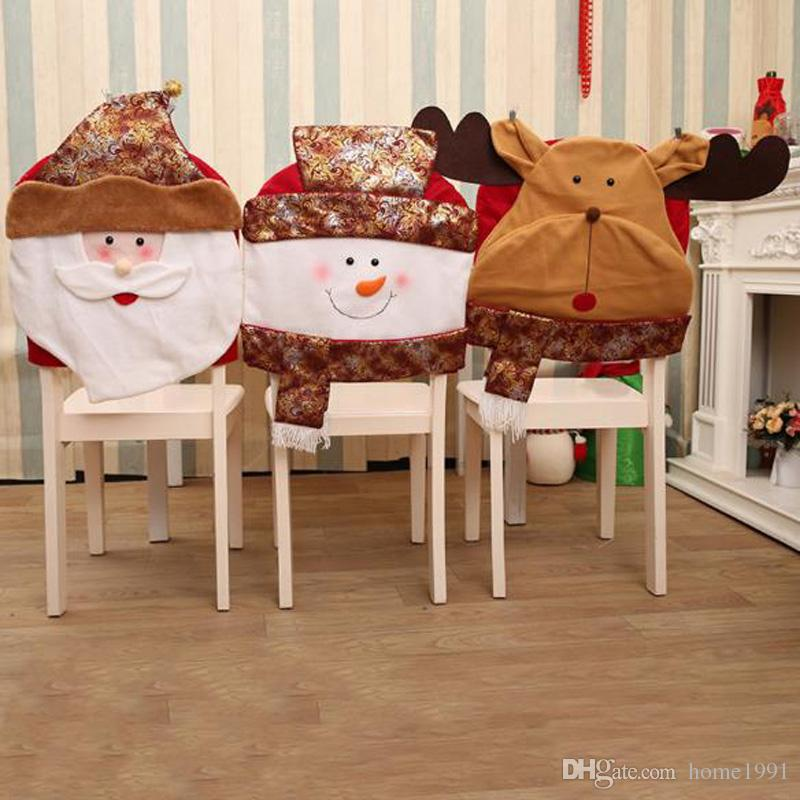New Christmas Chair Covers Santa Claus Snow Deer Hat Dinner Table Decor Home Decorations Ornaments Dinner Table Party Decor Chair Cover