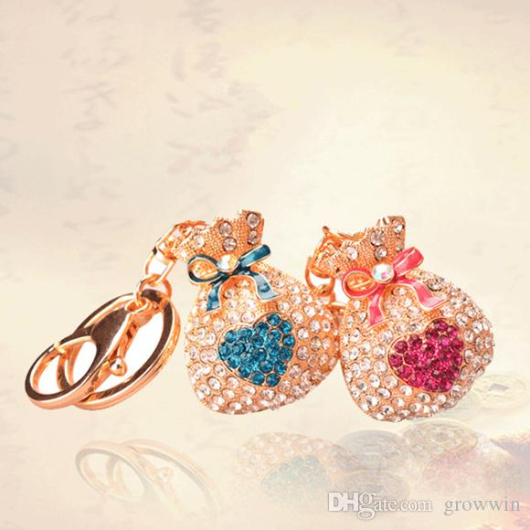 Korean Fashion Alloy Bag Purse Diamond Key Chain Girls Bags Hanging Car Pendant Creative Keychain Gifts D0273
