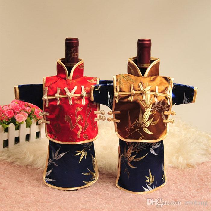 Vintage Kapuzen chinesischen Stil Weihnachten Weinflasche Abdeckung Tasche Zuhause-Party-Tischdekoration Silk Brokat-Beutel Flaschenverpackung fit 750ml