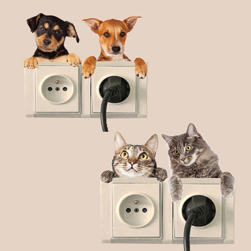% 3d four computer Cat Dog Vivid Wall Sticker Bathroom Switch Decor Kids Gift Kitchen Decal Mural Animal Vinyl Wall Poster