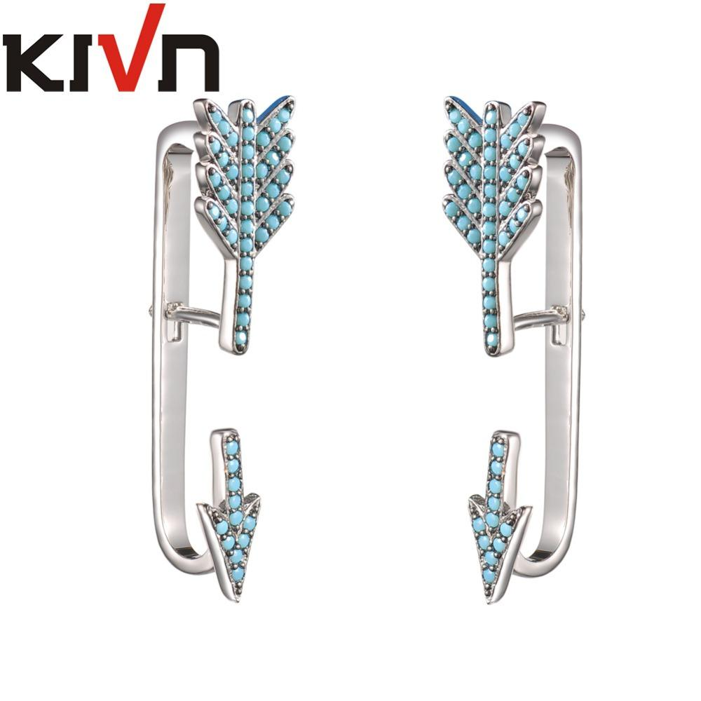 KIVN Fashion Jewelry Pave CZ Cubic Zirconia Arrow Ear Cuff Ear Crawler Climber Earring Jackets for Women Girls Birthday Gifts