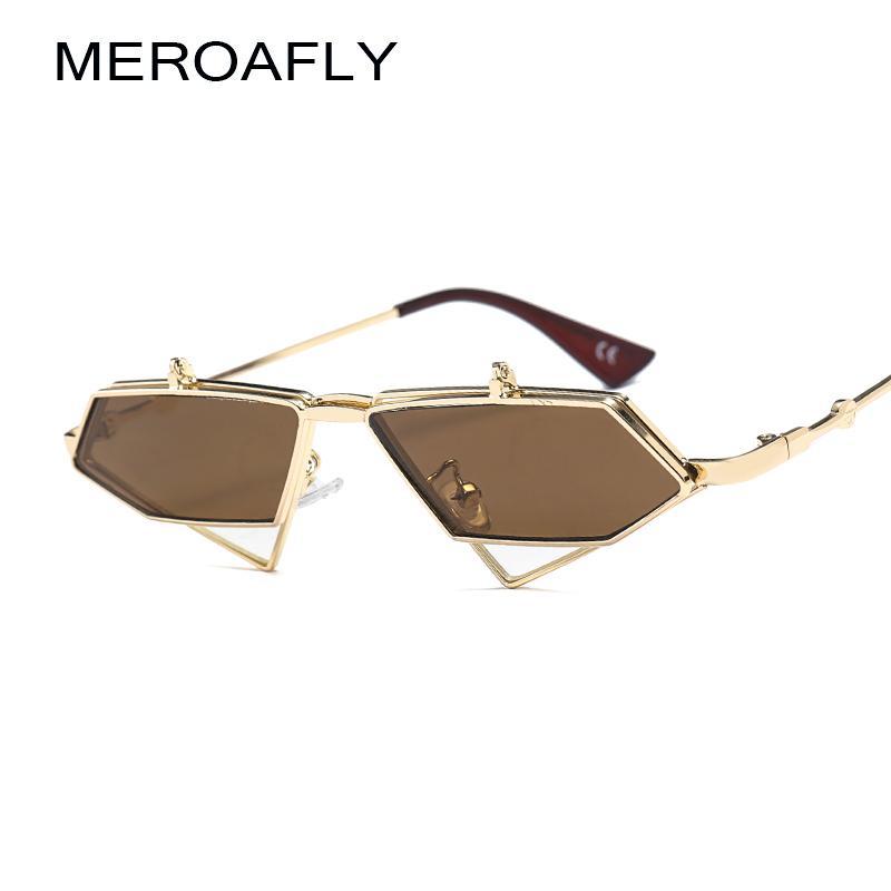MEROAFLY Virar Para Cima Steampunk Óculos De Sol Dos Homens Do Vintage Claro Vermelho Azul Ouro Moldura De Metal Triângulo óculos de Sol Para As Mulheres UV400 Verão