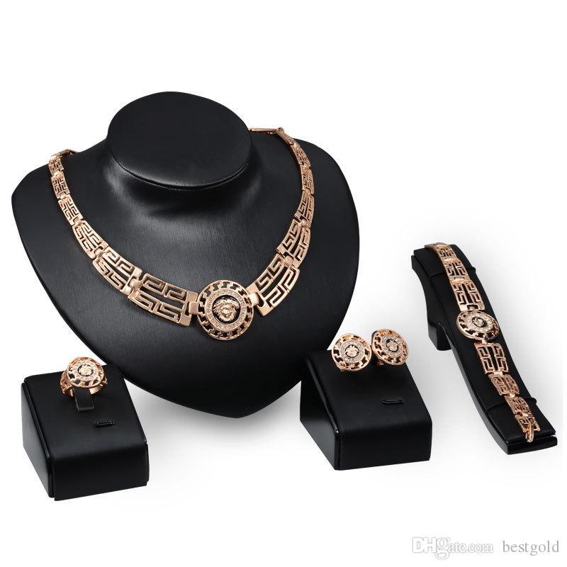 Dubai 18k Gold Anhänger Lion Kopf Halskette Sets Mode Afrikanische Diamant Hochzeit Brautschmuck Sets (Halskette + Armband + Ohrringe + Ring)