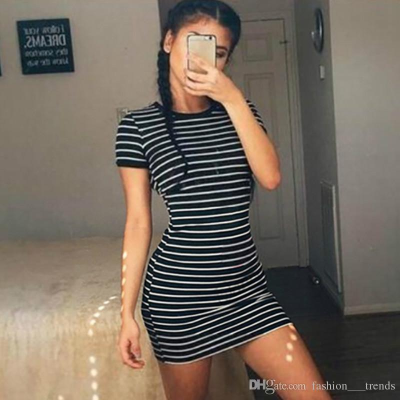 Black And White Striped Dress New Women Casual Hooded Dresses Summer Short Sleeve Lady's Street Style Short Dresses Outdoor Sports One Piece