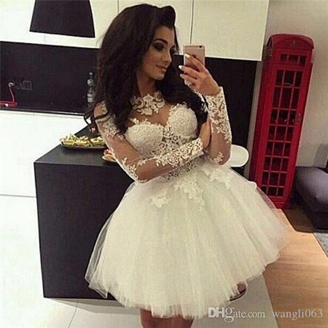 5b9242e1311 Vestido de fiesta de encaje Vestidos de baile Mangas largas Cuello  escarpado Dulce 16 Vestidos Pageant