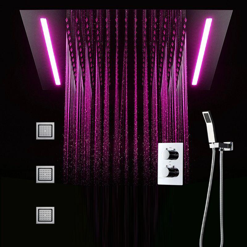 led 조명과 호텔 샤워 시스템 대형 비 샤워 수도꼭지 온도 조절 샤워 키트 4 인치 마사지 바디 제트