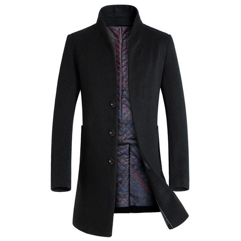 Coat Men Winter Long Thick Woolen Coats Mens Stand Collar Casual Jackets Erkek Mont Palto Peacoat Overcoat Wool Parka Coats Y181101