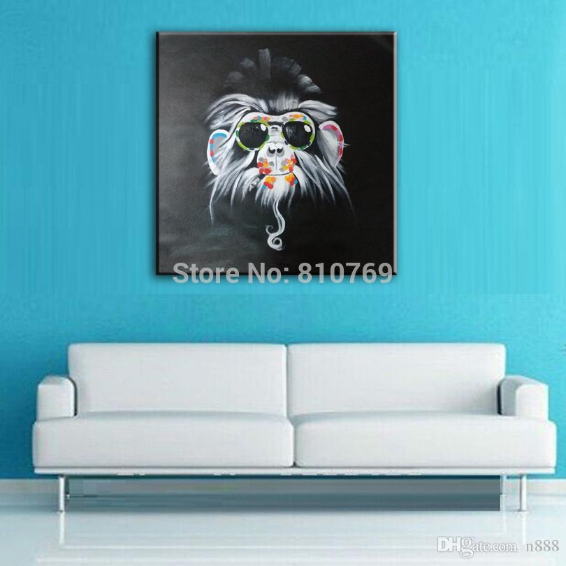 Handpainted & HD Printed oil painting Abstract Animal Happy monkey Wall Art High Quality Home Decor On Canvas Multi Sizes Frame Options a64