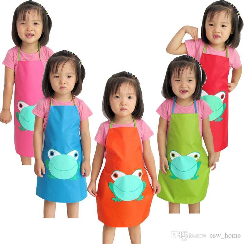 أطفال الأطفال ماء لطيف الضفدع طباعة المئزر الطلاء أكل شرب قميص فتاة صبي غير عادية جودة عالية جميلة