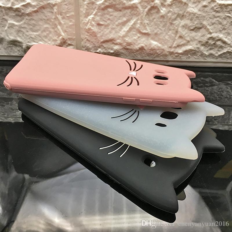 Oft silicone phone case para samsung galaxy a5 a7 j1 j2 j3 j5 j5 j7 prime 2016/2017 dos desenhos animados sorriso preto orelhas de gato barba tampa s9 s8 plus