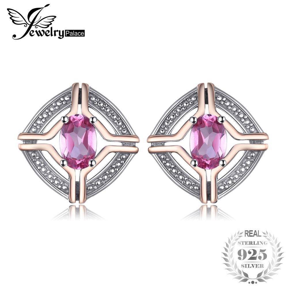 JewelryPalace Classical 1ct Oval Shape Natural Pink Topaz Stud Earrings For Woman 100% 925 Sterling Silver Vintage Fine Jewelry S18101307