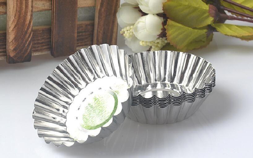 MINI Disposable Flower Style Aluminum Foil Cupcake Muffin Cups Egg Tart Cup Egg Tart Mold Baking Cooking Molds KJ8585
