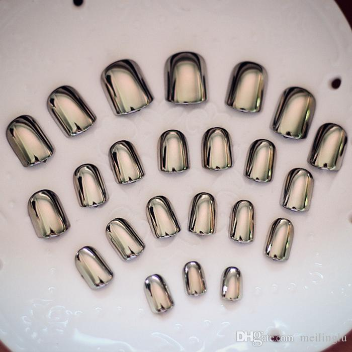 European Short Paragraph Metal Smoke Grey Finished False Nails Glue ...