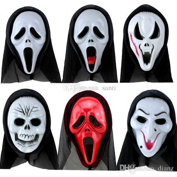 Home Festive Scary Ghost Face Scream Mask Creepy for Halloween Masquerade Party Fancy Dress Costume