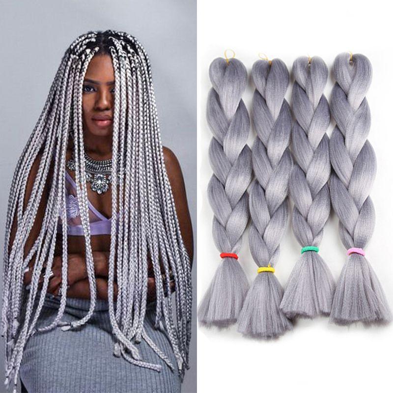 Grey High Temperature Fiber Braids Hair Kanekalon Braiding Hair Extensions Synthetic Hair Bulk 24 Inch 80g MOQ is 5 Pieces Free Shipping