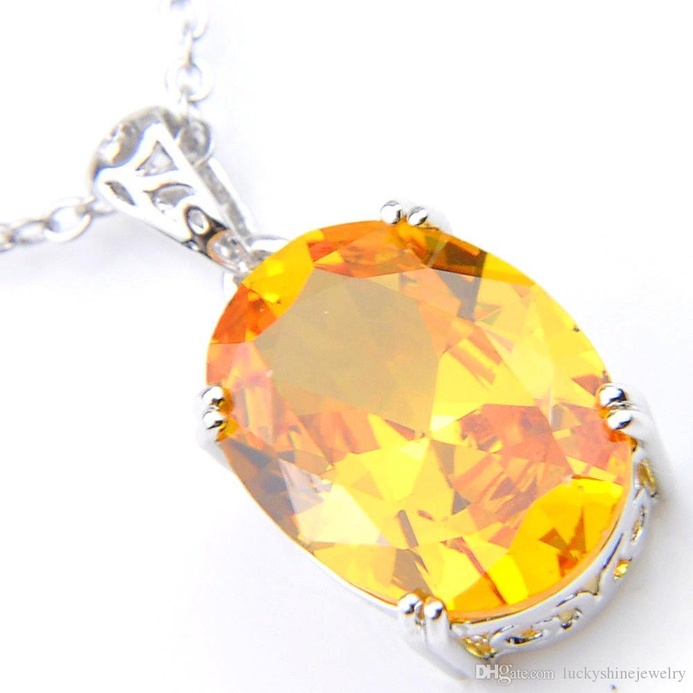10pcs Luckyshine brillo excelente ovalado cristal amarillo fuego circonio cúbico de la piedra preciosa de plata de los colgantes de vacaciones fiesta de la boda