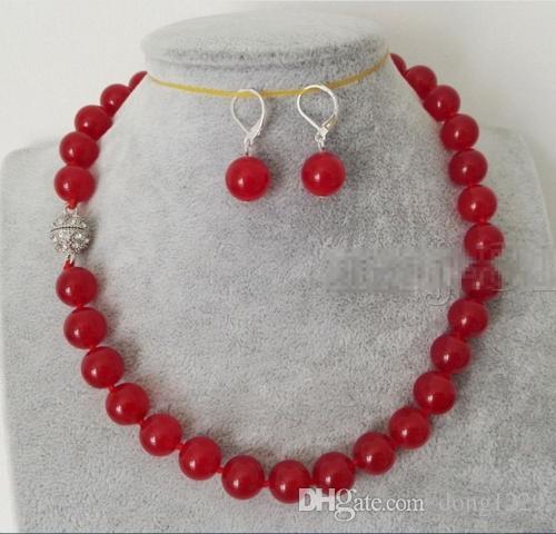 Collana di perle di pietra preziosa rotonda di giada rossa 12mm