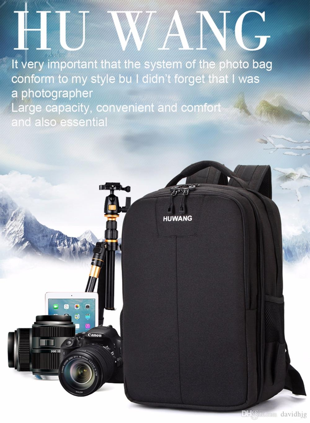 HUWANG Multi-functional Waterproof Dual Shoulder Backpack Padded Shockproof Camera Case Bag Outdoor Sports SLR Camera Soft Bag