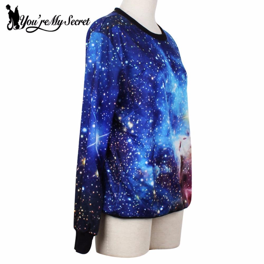 [Tu es mon secret] Sweats à capuche bleu cosmique pour femmes Galaxy Space 3D imprimé Moleton à manches longues lâches occasionnels Pulls