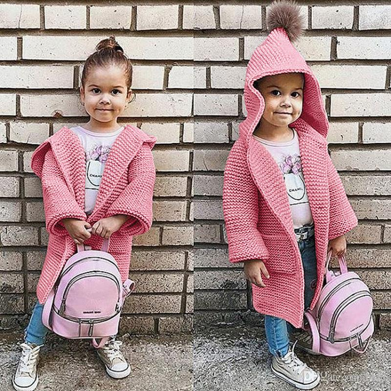 2018 Autumn Winter Sweater Top Baby Children Clothing Kids Girls Knitted  Cardigan Sweater Kids Hooded Plush Ball Cute Cardigan With Pockets Yellow
