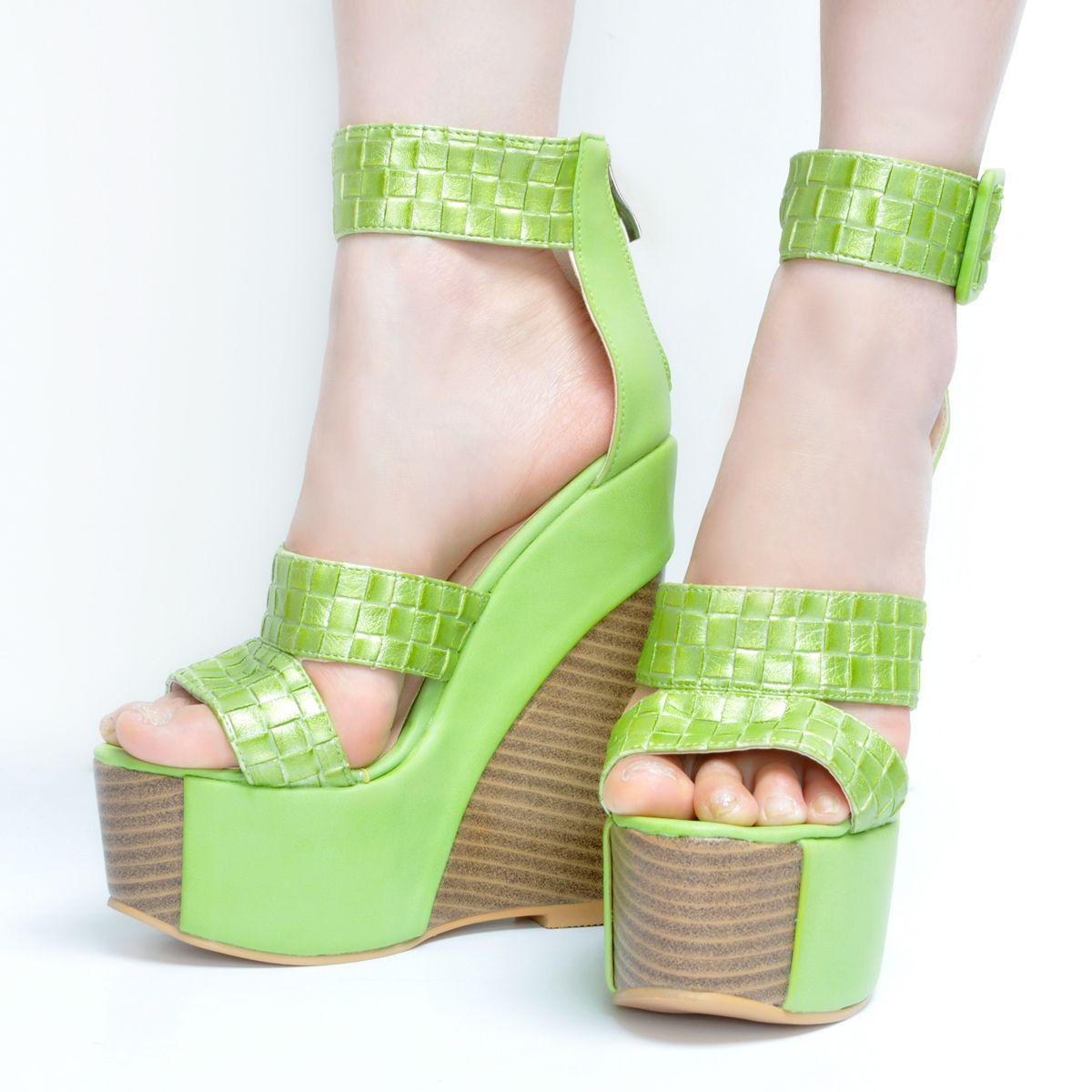 Legzen Moda Sandalias de mujer Plataforma de punta abierta Tacones altos Sandalias Marrón Verde Zapatos de fiesta para mujer Tallas grandes