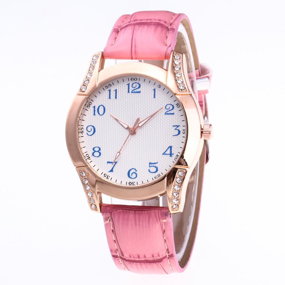 Fashion Diamond Ladies Watches Elegant Female Quartz Watch Women blue Numberal etched surface style Leather Strap Watch Montre Femme