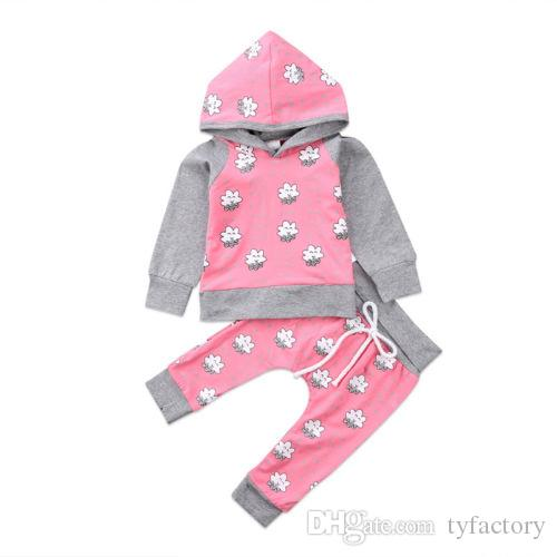 2018 Baby Girl Hoodie Toddler Outfits Tops + Pants 2PCS Set Geometric Baby Clothing Long Sleeve Pink Girls Clothes 0-24M