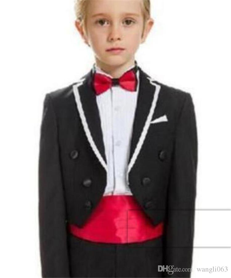 New White Kid/'s Formal Wedding Groom Tuxedos Flower Boys Prom Party Suits Custom