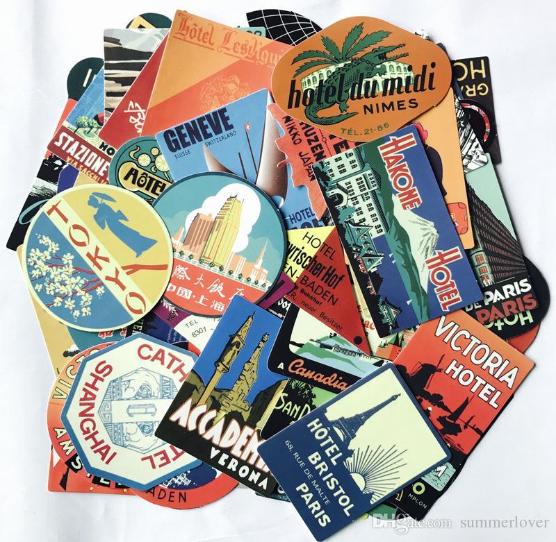55 قطع- فندق الأمتعة جذع حقيبة خمر الرجعية ملصقات السيارات سكيت للدراجات دراجة الأمتعة محمول الوفير جدار الشارات حزمة