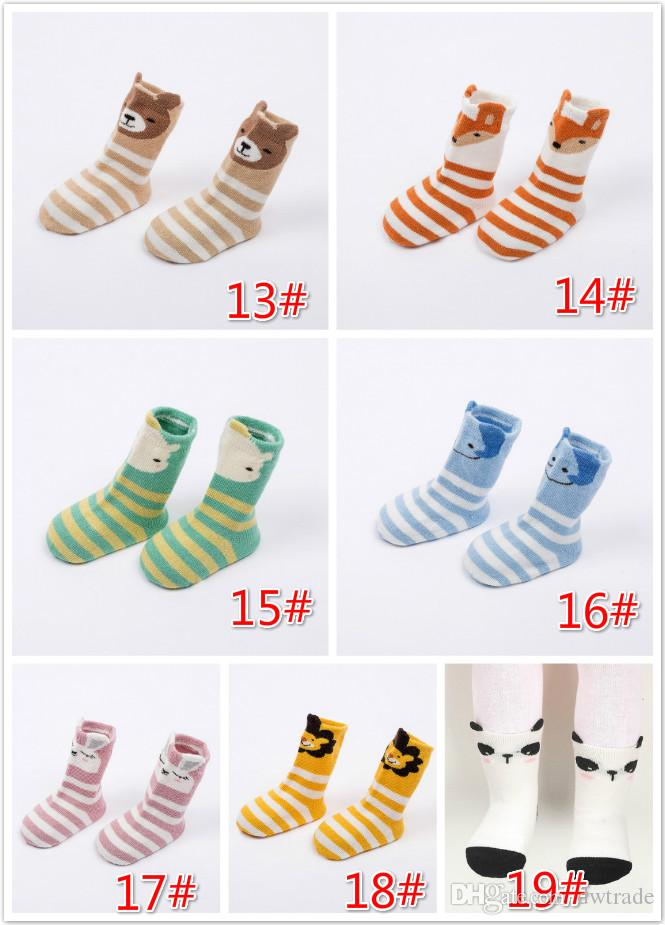 Unisex Baby Winter Spring Foot Warmer Silicone Antideslizante Children Striped Colorful Warmers Calcetines de dibujos animados lindo 2-4T 12cm 10 pares mucho