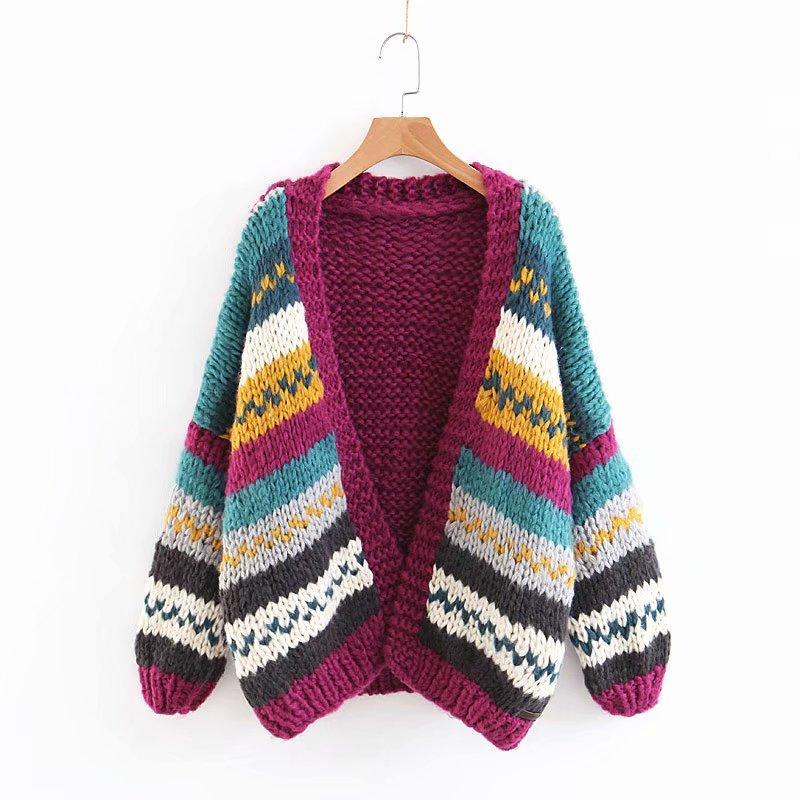 2018 새로운 가을, 겨울 여성 카디건 손으로 짠 색 스티치 대비 색 트위스트 느슨한 스웨터 코트 V- 목 카디 건