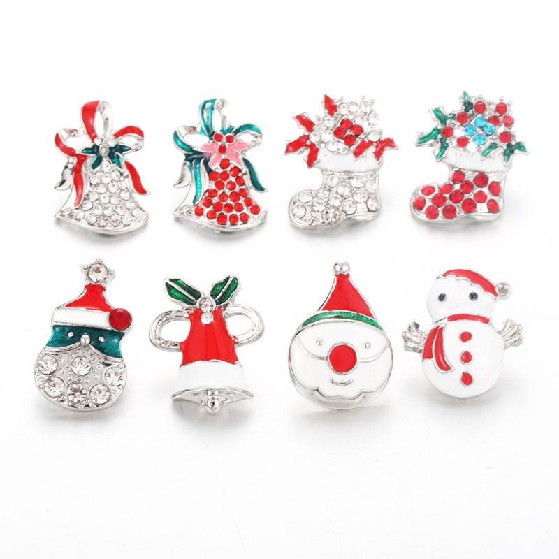 Bouton lot mixte 10pcs de Noël 18mm bijoux bouton strass bracelet métal boutons-pression Encliquetable Bijoux en gros