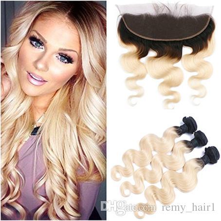 Ombre vergini bionde tessono i capelli con Frontals Body Wave 1B / 613 Ombre capelli brasiliani 3 offerte del fascio con chiusura frontale in pizzo 13x4