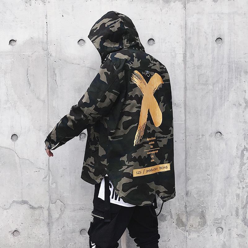 X печати камуфляж куртка мужчины толстовки пальто груза падения США размер XS-XL