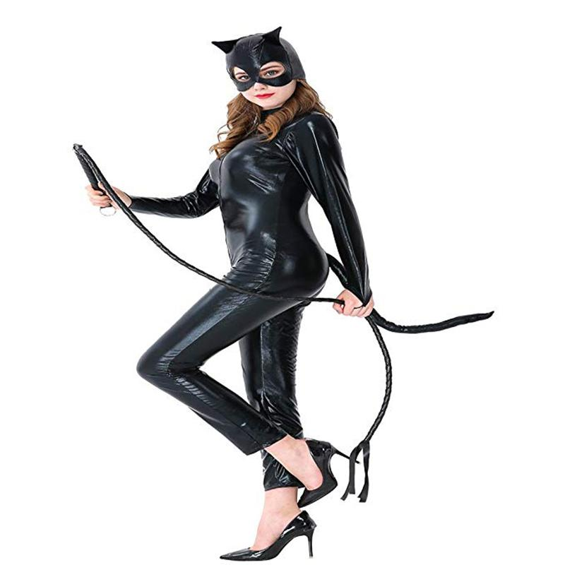 Black Cat girls Halloween Catsuit Cosplay Whip Costume Sexy Synthetic Leather Jumpsuit XS-XL Size