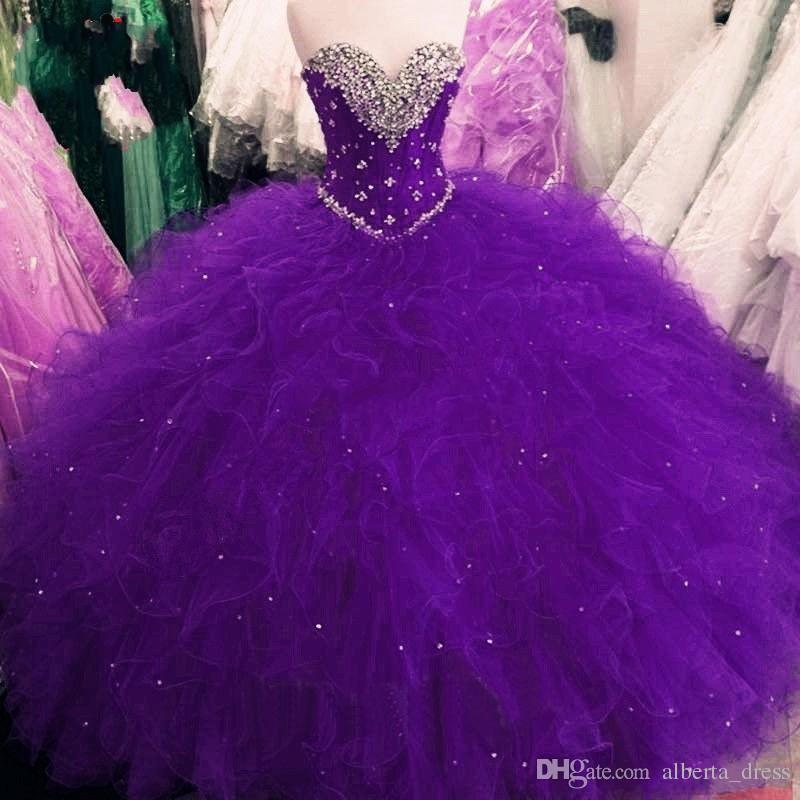 Cuenta Princesa Vestido de bola Rojo Morado Vestidos de quinceañera Dulce 16 Vestidos Con lentejuelas con cuentas Vestidos con volantes Volantes Vestidos de talla grande De 15