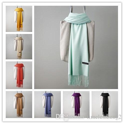 1 PCS Solid Cashmere Scarf 24 Colors Autumn Winter Plain Tassels Scarf Man And Women Pashmina 200*65cm Classic Cashmere Shawl Warm Wraps