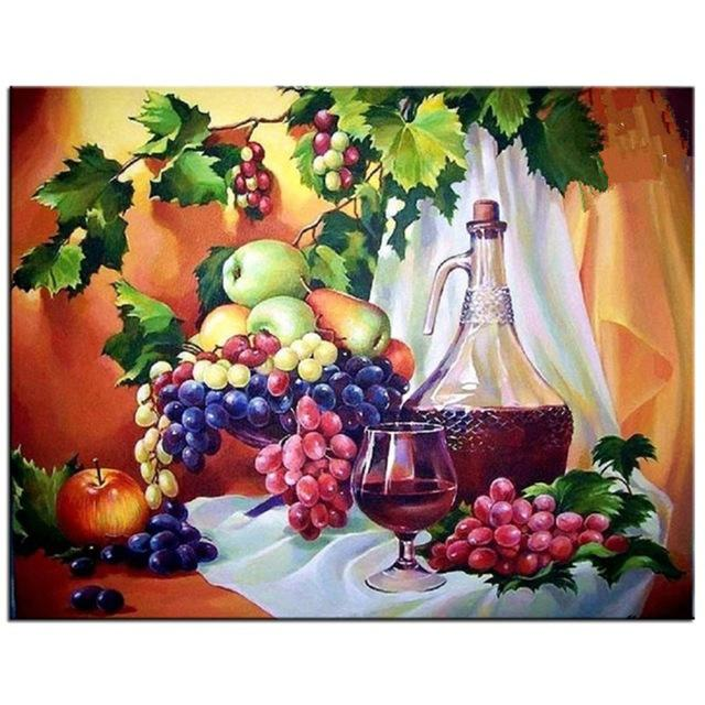 Grape Fruit Apple 5D DIY Mosaic Needlework Diamond Painting Embroidery Cross Stitch Craft Kit Wall Home Hanging Decor