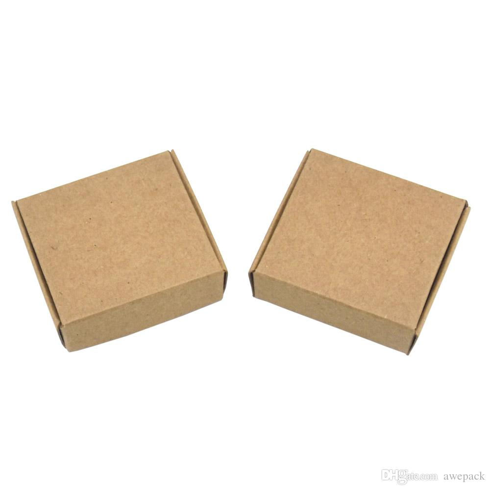 50 Pieces 6.2*5.8*2cm Foldable Gift Decoration Kraft Paper Boxes Retail Wedding Party Favor Christmas Gift Jewelry Package Paperboard Box